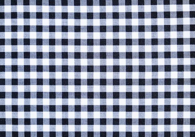 Textura de tecido de algodão xadrez padrão branco e preto