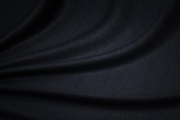Textura de tecido, textura close-up de tecido preto ou padrão de jérsei para design web e plano de fundo de papel de parede