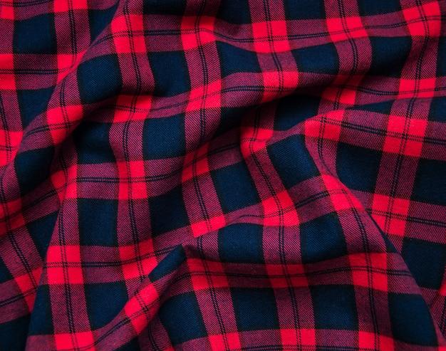 Textura de tecido xadrez preto vermelho