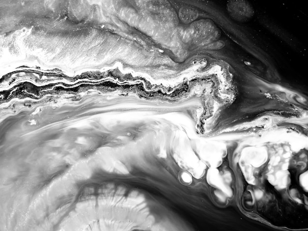 Textura de tinta acrílica preto e branco com formas orgânicas abstratas para designs criativos