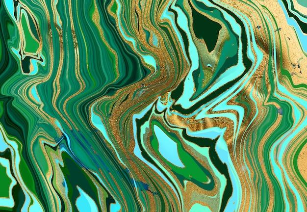 Textura de tinta líquida de fundo abstrato de mármore verde e branco