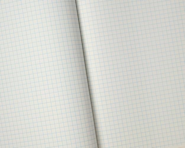Textura de um caderno de escola aberta em uma célula, quadro completo