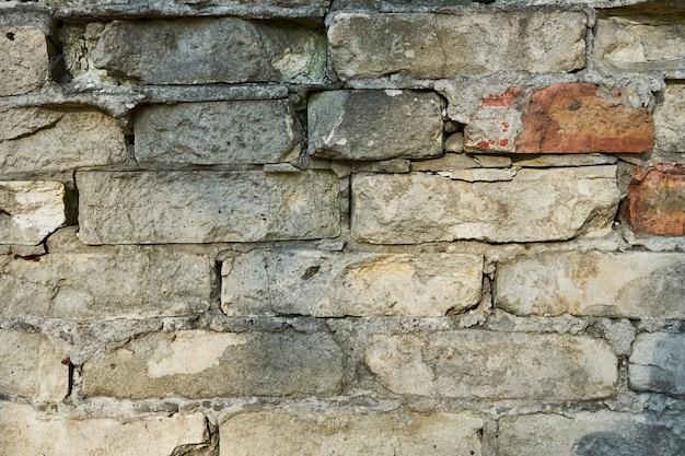 Textura de uma parede de tijolos antigos com rachaduras. parede para preenchimento de página da web ou design gráfico. padronizar. mapa para textura 3d.
