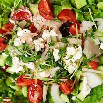 Textura de uma salada grega saudável
