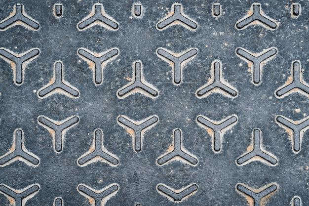Textura de uma tampa de bueiro de metal