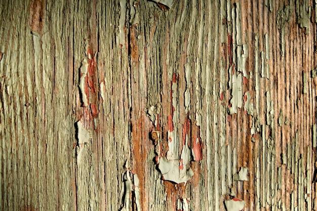 Textura de uma velha parede de madeira com fundo abstrato de pintura descascada.