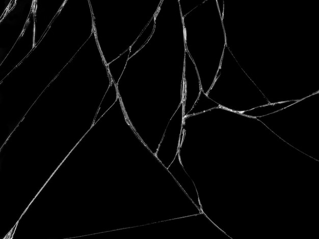 Textura de vidro rachado em fundo preto