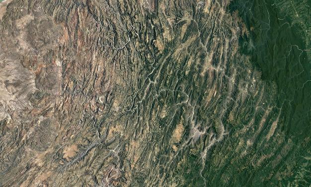 Textura de vista superior de satélite sobre a bolívia