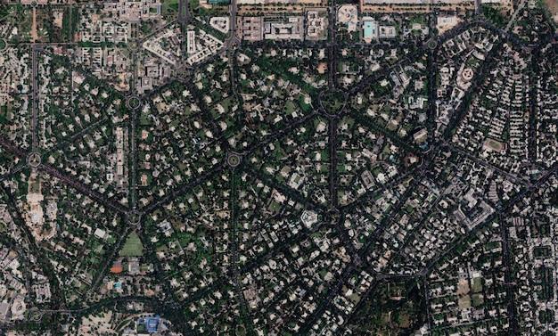 Textura de vista superior de satélite sobre nova delhi
