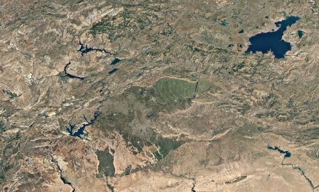 Textura de vista superior do satélite sobre o lago van