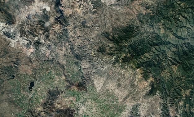 Textura de vista superior do satélite sobre o méxico