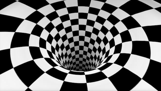Textura de xadrez preto e branco em perspectiva