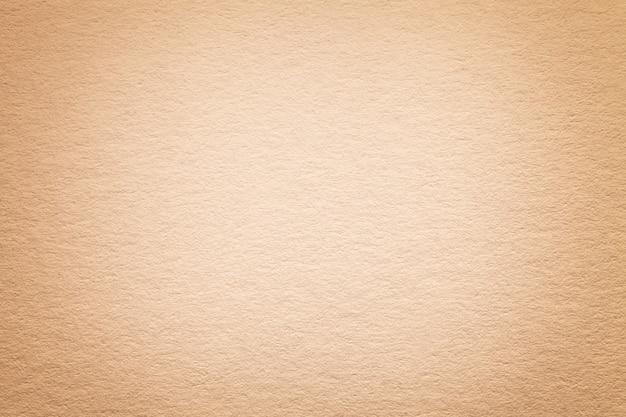 Textura do fundo de papel bege claro velho, close up. estrutura de papelão denso.