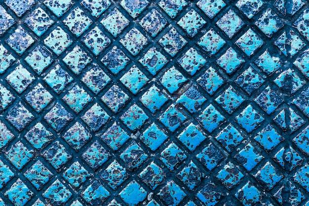 Textura e fundo da cor azul da placa de metal