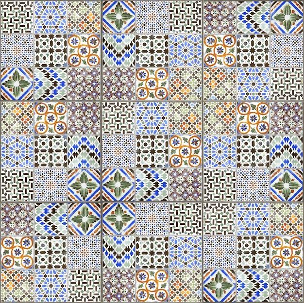 Textura e fundo de decoração de parede de azulejos de cerâmica vintage