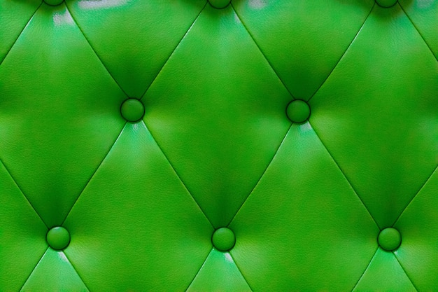 Textura elegante de couro verde com botões para padrão e plano de fundo.