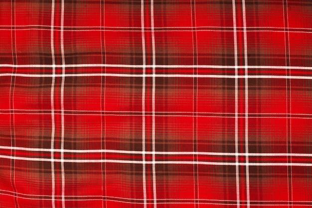 Textura fechada da toalha de mesa, padrão riscado em vermelho, branco e azul marinho, padrão xadrez