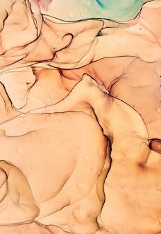 Textura fluida de mármore de arte. efeito de pintura iridescente abstrato do pano de fundo. a arte em acrílico líquido flui e respinga. tintas mistas para pôster interior. álcool cores de tinta translúcidas. papel de design