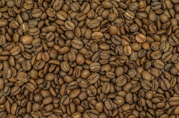 Textura, fundo de grãos de café inteiros