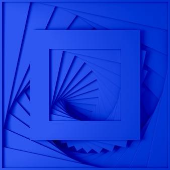 Textura tridimensional mínima em azul pastel tridimensional de um conjunto de bordas retas quadradas de degraus em espiral