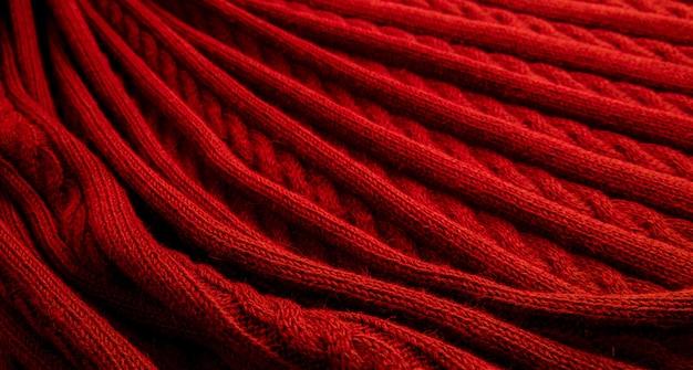 Textura vermelha de tecido de lã fina