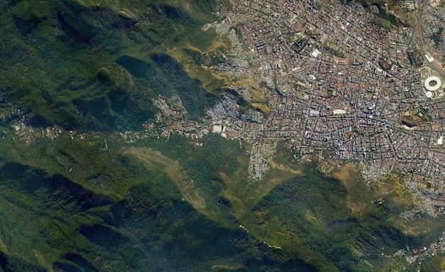Textura vista de cima de satélite sobre o rio de janeiro