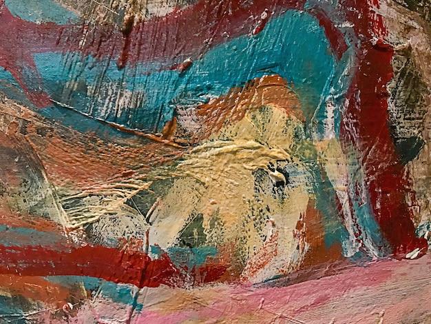 Texturas de tinta acrílica, impasto, pintadas à mão sobre tela. a textura da tinta na tela.
