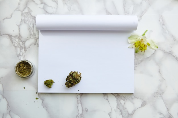 Thc / cbd cannabis flower and joint on drawing notepad