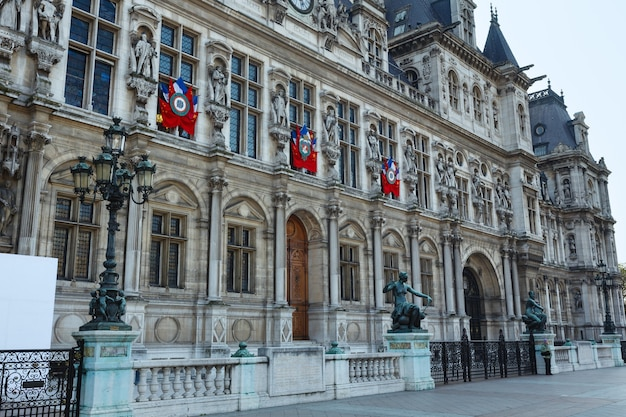 The hotel de ville, prefeitura de paris, frança