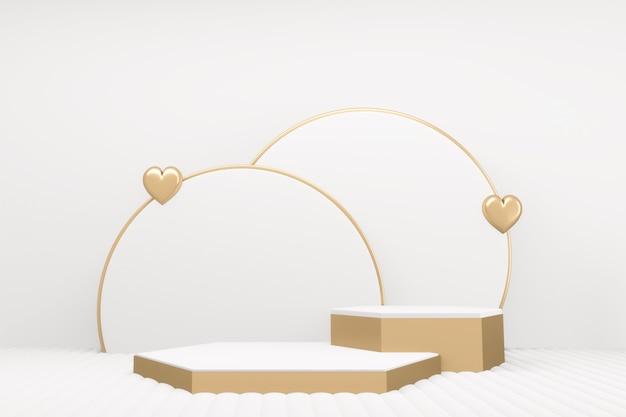The minimal luxo branco mármore hexágono pódio branco estilo. renderização 3d