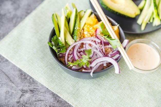 Tigela arroz, com, legumes, e, frutas