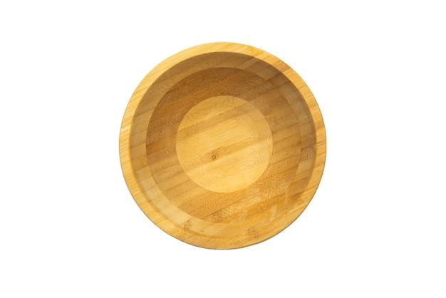 Tigela circular de bandeja de madeira isolada no fundo branco simulado