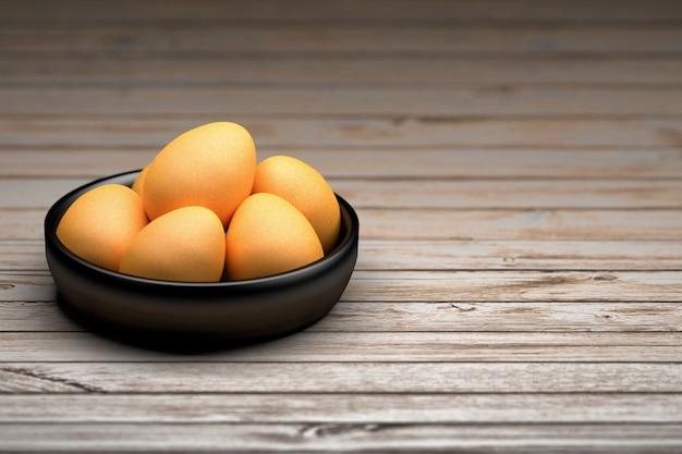 Tigela com ovos marrons