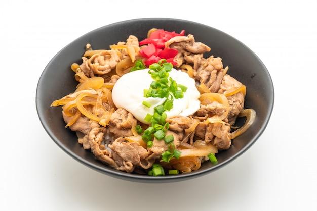 Tigela de arroz de porco com ovo (donburi) - estilo de comida japonesa