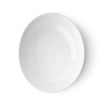 Tigela de cerâmica branca isolada na vista superior branca