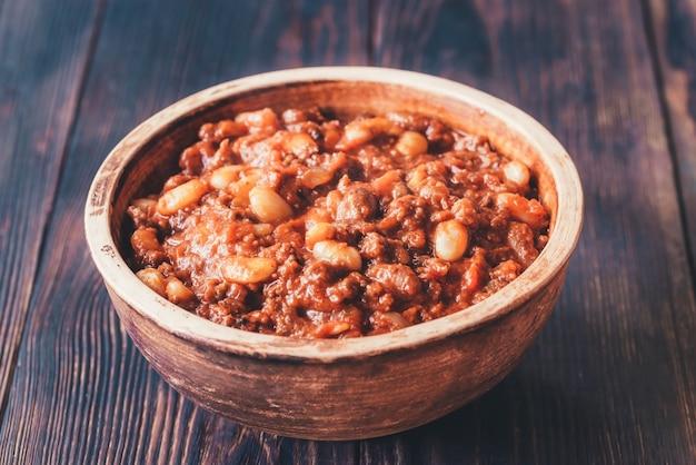 Tigela de chili com carne