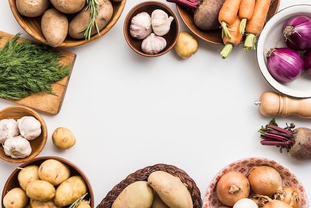 Tigela de quadro de legumes