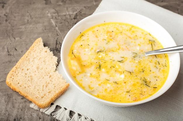 Tigela de sopa de galinha com creme de leite