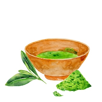 Tigela desenhada à mão com chá matcha e folhas verdes