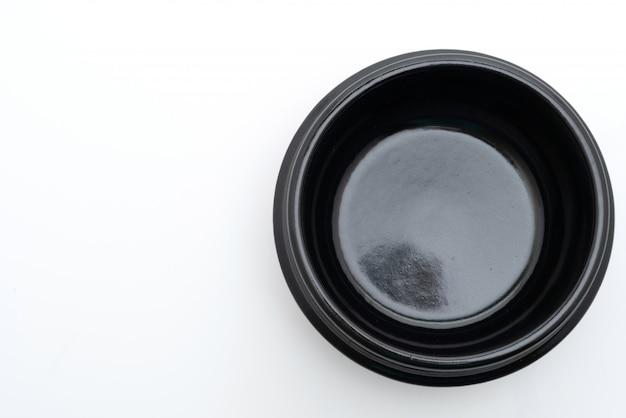 Tigela vazia de sopa preta (panela de barro) no estilo coreano