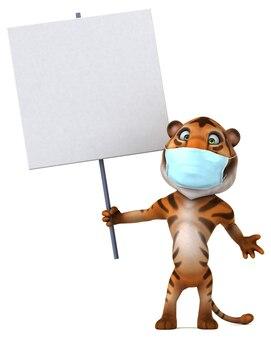 Tigre divertido de desenho animado em 3d com máscara