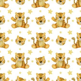 Tigres em aquarela sem costura padrão e estrelas em um fundo branco