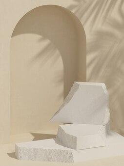 Tijolo de bloco branco e fundo de cor creme com sombra de folha para apresentação do produto renderização 3d
