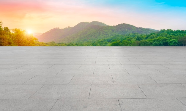 Tijolos quadrados vazios e paisagens naturais