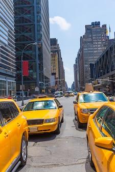 Times square, nova iorque, amarelo, táxi, luz dia