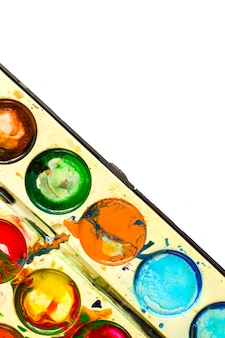 Tinta aquarela manchada, misturada, velha