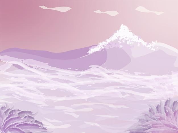 Tinta bege bonita e quente com flores rosa e montanhas