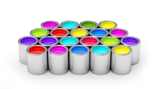 Tinta colorida em latas de metal