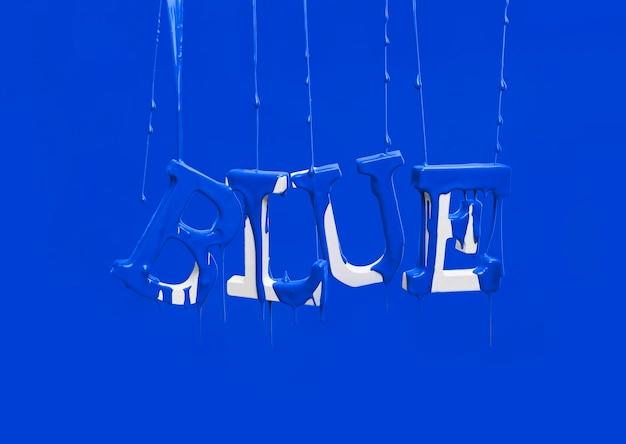 Tinta pingando na palavra flutuante azul
