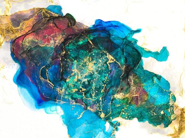 Tinta pintura abstrata multicolor e pintura dourada de fundo tinta de álcool